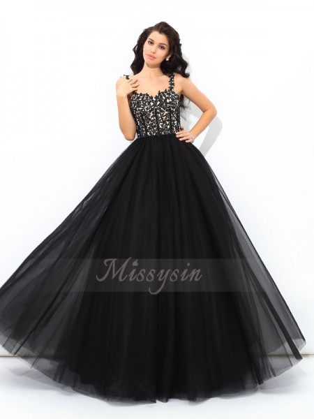 Ball Gown Sleeveless Straps Applique Net Floor-Length Quinceanera Dresses