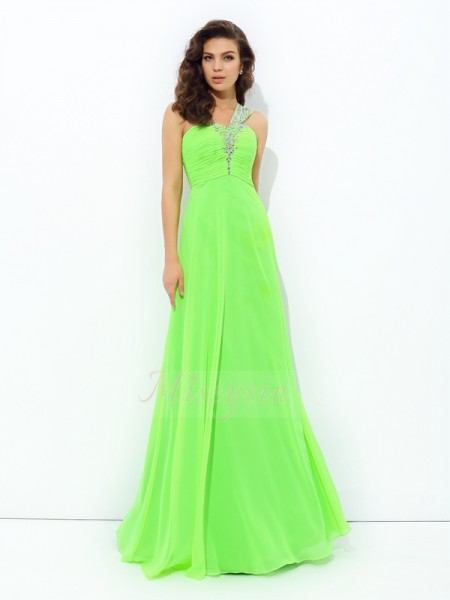 A-line/Princess Sleeveless One-Shoulder Rhinestone Chiffon Floor-Length Dresses