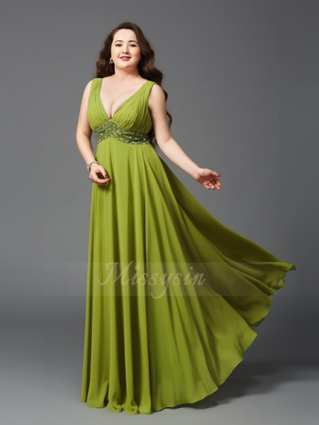 A-Line/Princess Sleeveless Straps Rhinestone Chiffon Floor-Length Plus Size Dresses