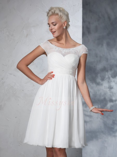 A-Line/Princess Short Sleeves Sheer Neck Ruched Chiffon Knee-Length Wedding Dresses