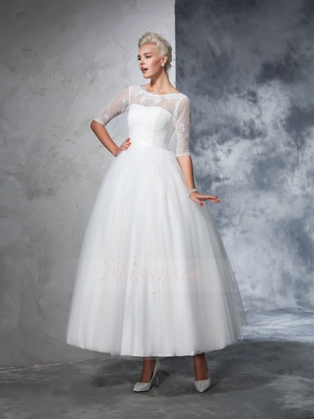 Ball Gown 1/2 Sleeves Bateau Net Ankle-Length Wedding Dresses