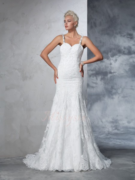 Trumpet/Mermaid Sleeveless Spaghetti Straps Lace Chapel Train Wedding Dresses