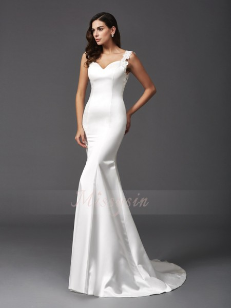 Trumpet/Mermaid Sleeveless Straps Beading Satin Sweep/Brush Train Wedding Dresses