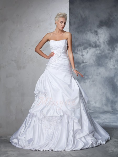 Ball Gown Sleeveless Strapless Applique Satin Chapel Train Wedding Dresses