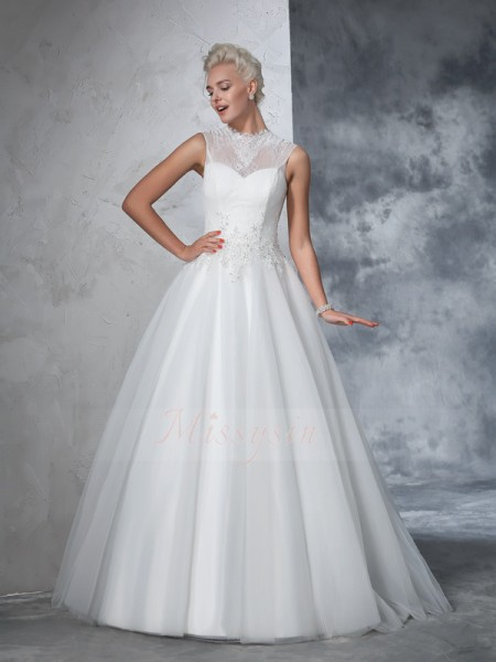Ball Gown Sleeveless High Neck Applique Net Floor-Length Wedding Dresses