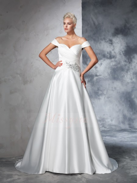 Ball Gown Sleeveless Off-the-Shoulder Ruched Taffeta Chapel Train Wedding Dresses