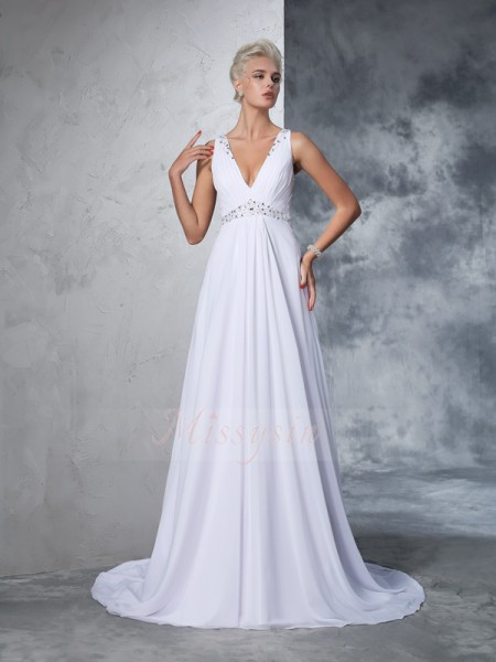 A-Line/Princess Sleeveless V-neck Beading Chiffon Cathedral Train Wedding Dresses