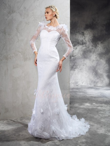 Sheath/Column Long Sleeves Sheer Neck Hand-Made Flower Satin Court Train Wedding Dresses