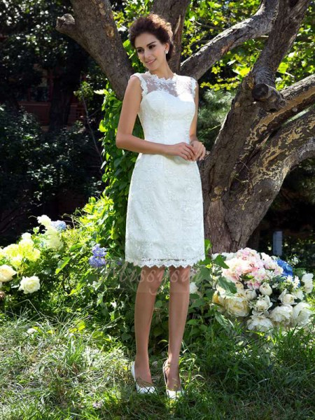 A-Line/Princess Sleeveless Sheer Neck Applique Satin Knee-Length Wedding Dresses