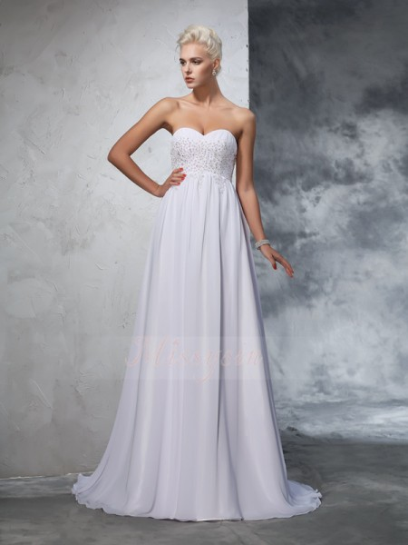 A-Line/Princess Sleeveless Sweetheart Beading Chiffon Sweep/Brush Train Wedding Dresses