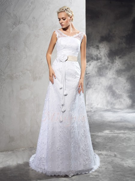 Sheath/Column Sleeveless Sheer Neck Hand-Made Flower Satin Court Train Wedding Dresses