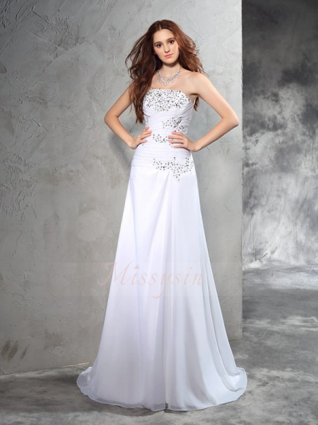 Sheath/Column Sleeveless Strapless Beading Chiffon Sweep/Brush Train Wedding Dresses