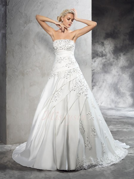 Ball Gown Sleeveless Strapless Beading Satin Court Train Wedding Dresses