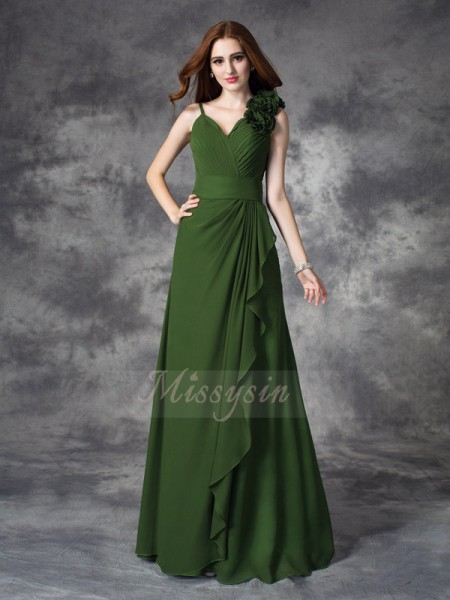 A-line/Princess Sleeveless V-neck Hand-Made Flower Chiffon Floor-length Bridesmaid Dresses