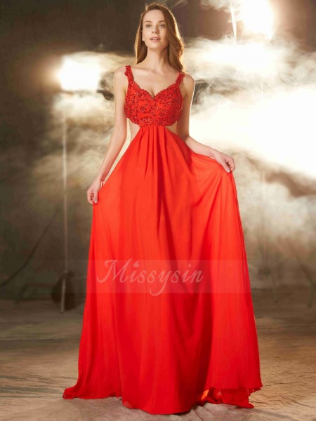A-Line/Princess Sweep/Brush Train Straps Chiffon Applique Sleeveless Dresses
