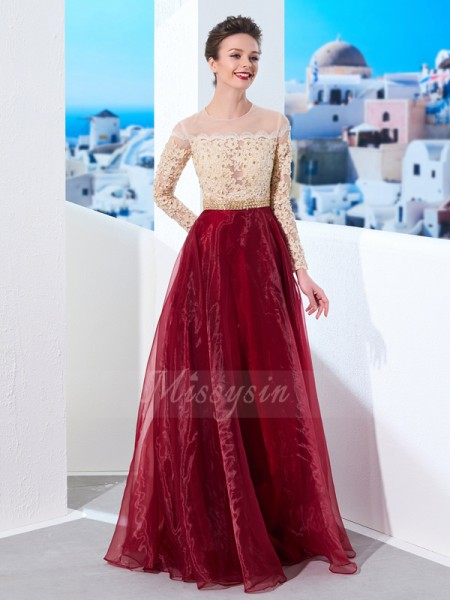 A-Line/Princess Floor-Length Sheer Neck Organza Applique Long Sleeves Dresses