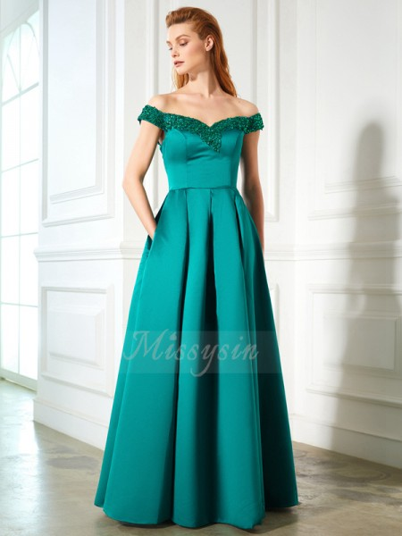 A-Line/Princess Floor-Length Off-the-Shoulder Satin Sequin Sleeveless Dresses
