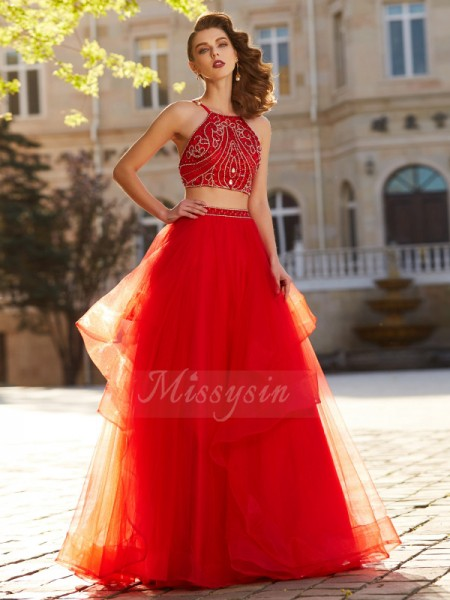 A-Line/Princess Floor-Length Spaghetti Straps Tulle Beading Sleeveless Dresses