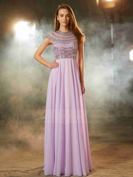 A-Line/Princess Floor-Length Scoop Chiffon Beading Short Sleeves Dresses