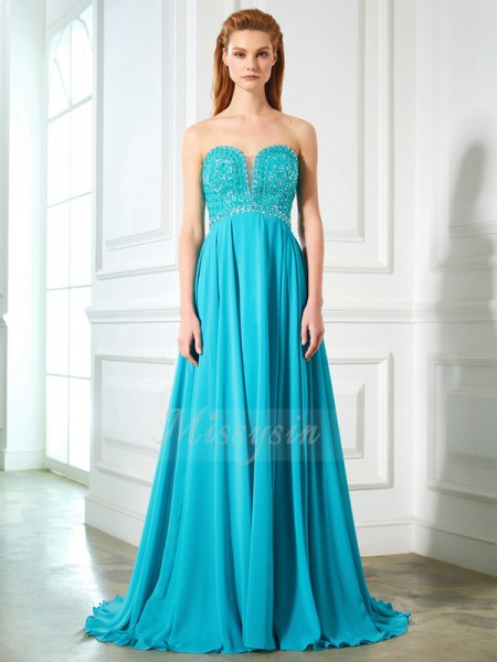 A-Line/Princess Sweep/Brush Train Sweetheart Chiffon Beading Sleeveless Dresses