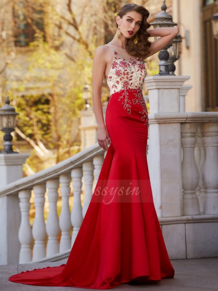 Trumpet/Mermaid Court Train Sheer Neck Stain Applique Sleeveless Dresses