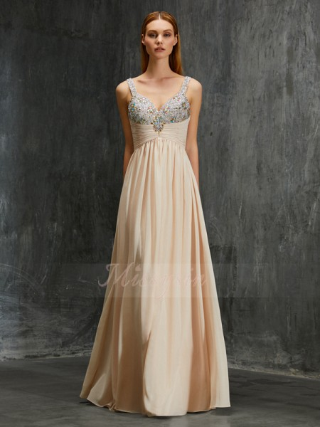 A-Line/Princess Floor-Length Spaghetti Straps Chiffon Beading Sleeveless Dresses