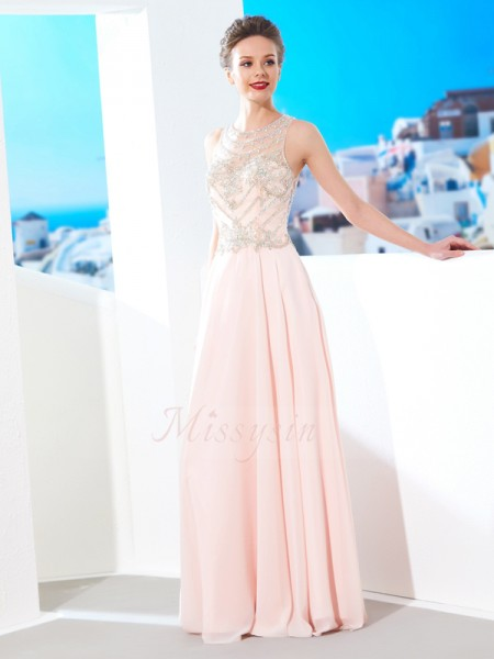 A-Line/Princess Floor-Length Scoop Chiffon Crystal Sleeveless Dresses