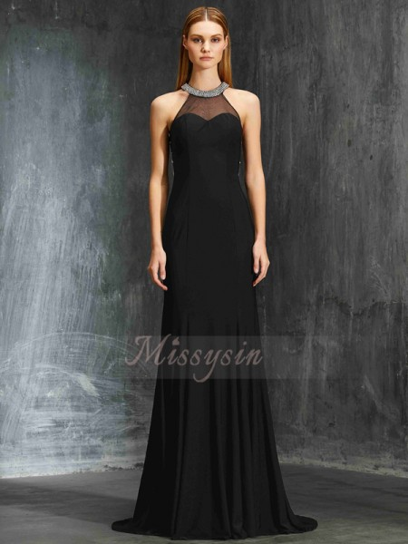 Sheath/Column Sweep/Brush Train Jewel Spandex Beading Sleeveless Dresses