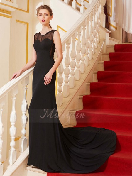 A-Line/Princess Sweep/Brush Train Scoop Spandex Beading Sleeveless Dresses