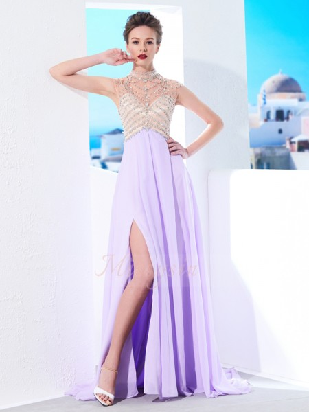 A-Line/Princess Sweep/Brush Train High Neck Chiffon Crystal Sleeveless Dresses