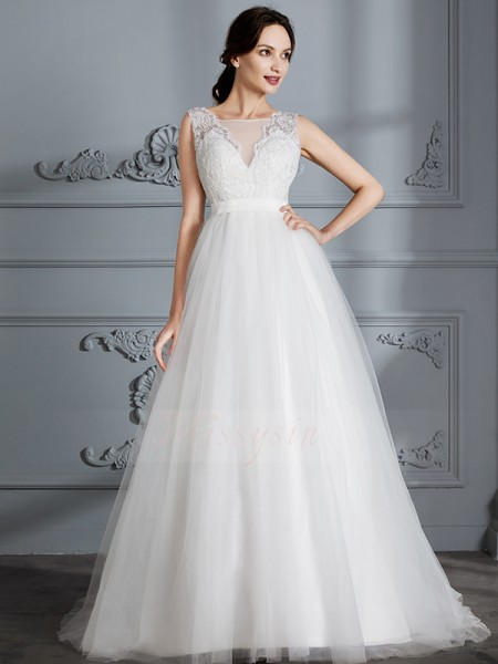 A-Line/Princess Sleeveless V-neck Tulle Sweep/Brush Train Wedding Dresses