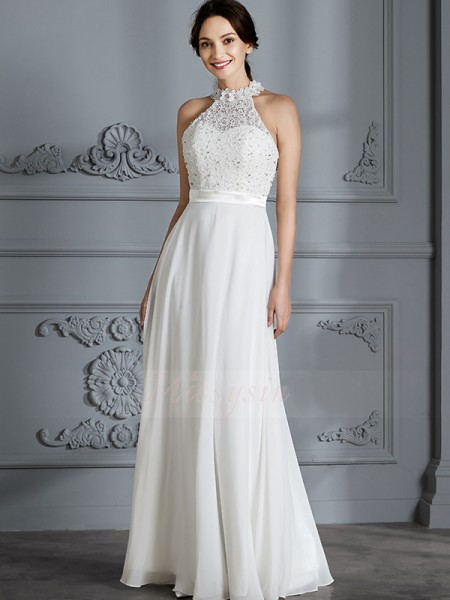 A-Line/Princess Sleeveless Scoop Chiffon Floor-Length Wedding Dresses