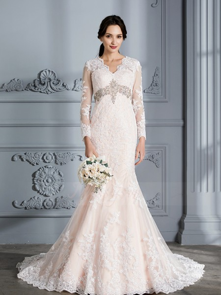Trumpet/Mermaid Long Sleeves V-neck Organza Sweep/Brush Train Wedding Dresses