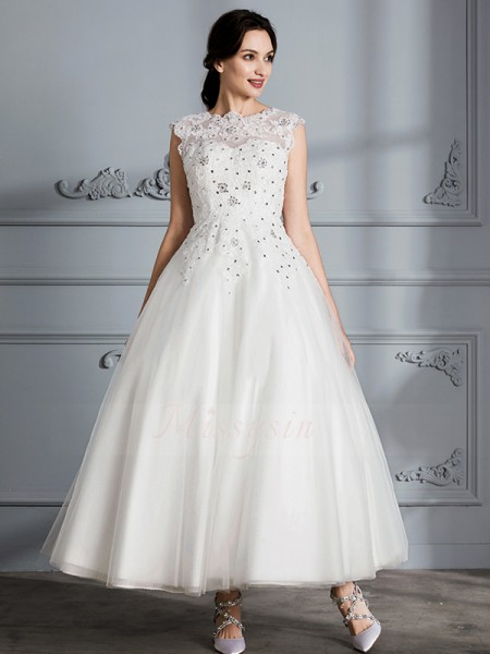 Ball Gown Sleeveless Scoop Tulle Tea-Length Wedding Dresses