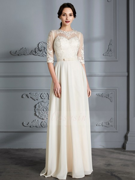 A-Line/Princess 1/2 Sleeves Scoop Chiffon Floor-Length Wedding Dresses