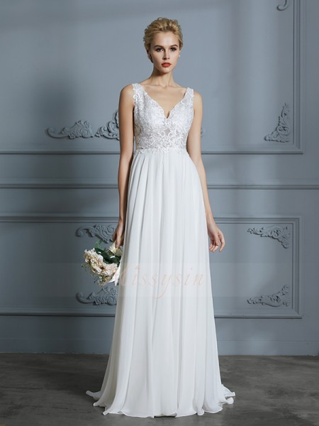 A-Line/Princess Sleeveless V-neck Chiffon Sweep/Brush Train Wedding Dresses
