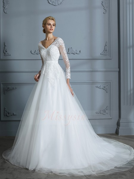 Ball Gown Long Sleeves V-neck Tulle Court Train Wedding Dresses