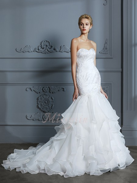 Trumpet/Mermaid Sleeveless Sweetheart Organza Sweep/Brush Train Wedding Dresses