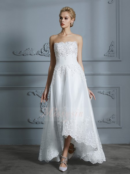A-Line/Princess Sleeveless Sweetheart Tulle Asymmetrical Wedding Dresses