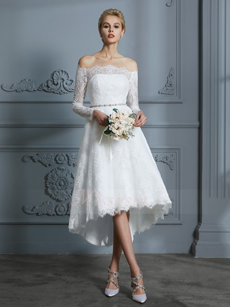 A-Line/Princess Long Sleeves Off-the-Shoulder Lace Asymmetrical Wedding Dresses