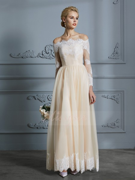 A-Line/Princess Long Sleeves Off-the-Shoulder Tulle Floor-Length Wedding Dresses