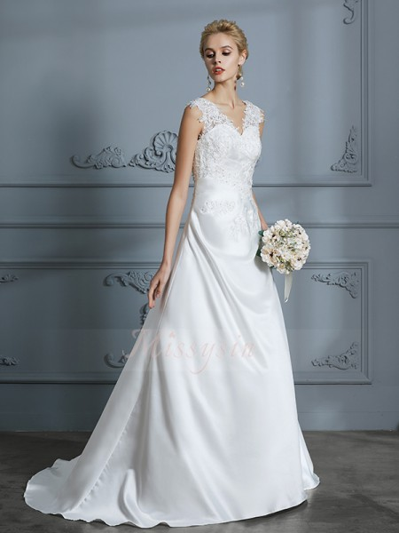 A-Line/Princess Sleeveless V-neck Satin Sweep/Brush Train Wedding Dresses