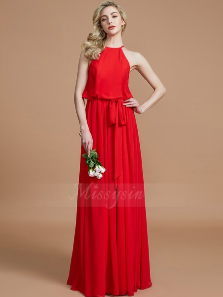A-Line/Princess Sleeveless Chiffon Halter Sash/Ribbon/Belt Floor-Length Bridesmaid Dresses