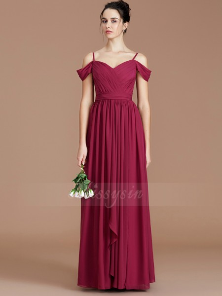 A-Line/Princess Sleeveless Chiffon Off-the-Shoulder Ruched Floor-Length Bridesmaid Dresses