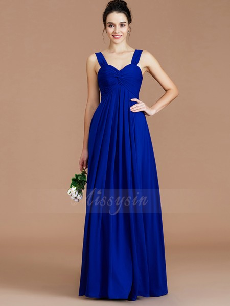 Empire Sleeveless Chiffon Sweetheart Ruched Floor-Length Bridesmaid Dresses