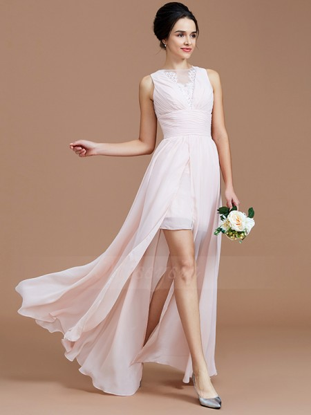A-Line/Princess Sleeveless Chiffon Jewel Ruched Floor-Length Bridesmaid Dresses