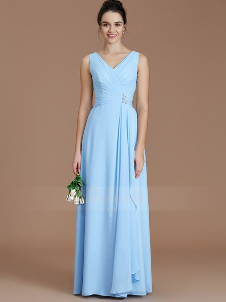 A-Line/Princess Sleeveless Chiffon V-neck Ruched Floor-Length Bridesmaid Dresses