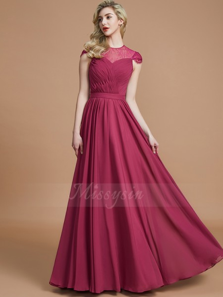 A-Line/Princess Short Sleeves Chiffon Scoop Floor-Length Bridesmaid Dresses