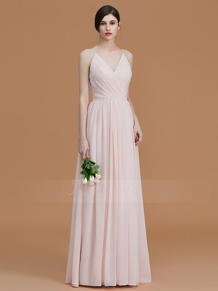 A-Line/Princess Sleeveless Chiffon Spaghetti Straps Ruched Floor-Length Bridesmaid Dresses