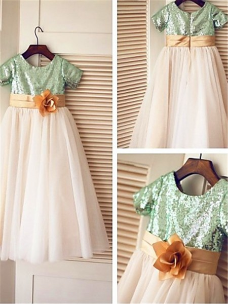 A-line/Princess Short Sleeves Scoop Sequin Tea-Length Tulle Flower Girl Dresses